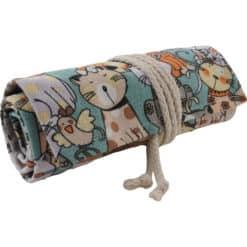 Canvas roletui met kattenpatroon - voor 48 potloden/pennen