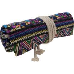 Canvas roletui met kleurrijk patroon - voor 48 potloden/pennen