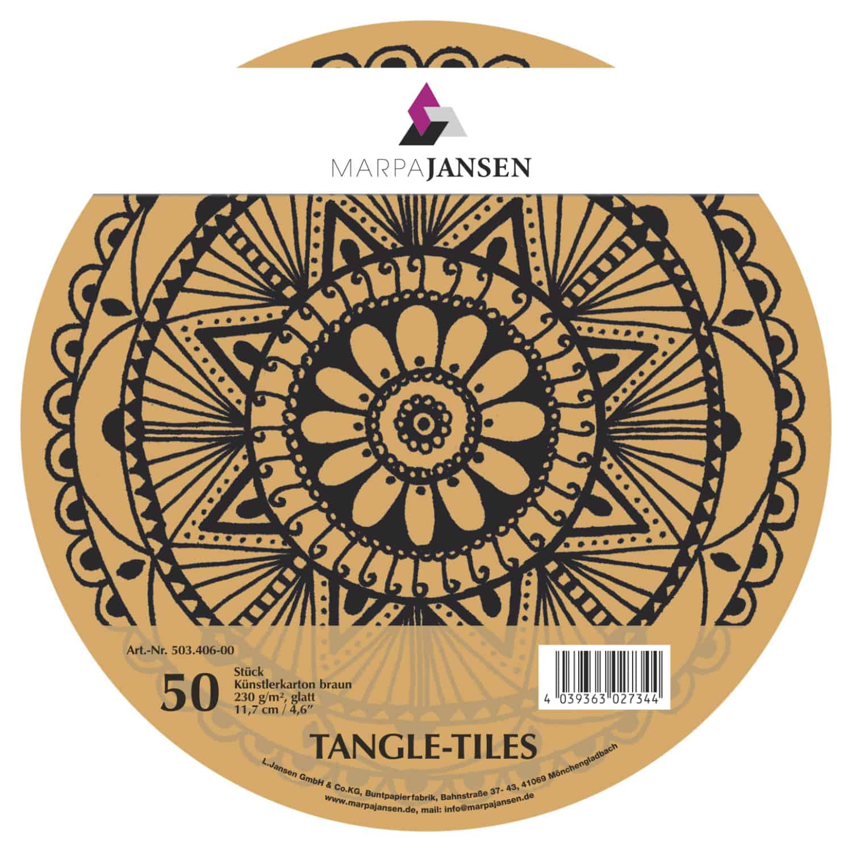 Marpa Jansen tangle-tiles bruin rond 50 stuks (diameter 11,7 cm)