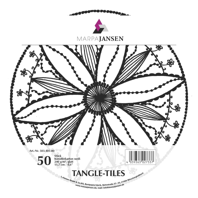 Marpa Jansen tangle-tiles wit rond 50 stuks (diameter 11,7 cm)