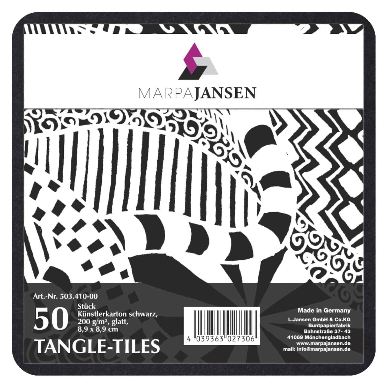Marpa Jansen tangle-tiles zwart vierkant 50 stuks (8,9x8,9 cm)