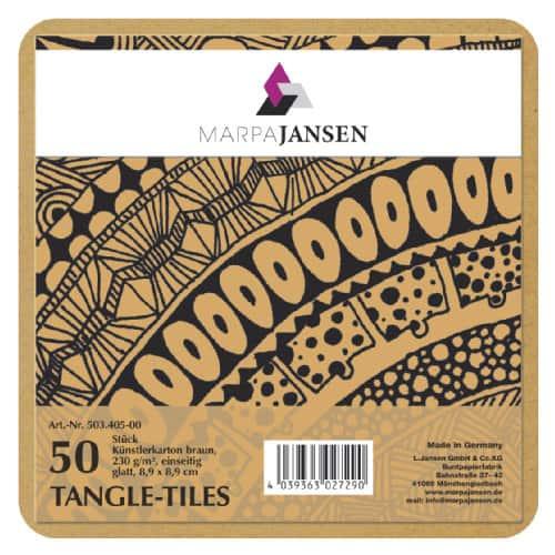 Marpa Jansen tangle-tiles bruin vierkant 50 stuks (8,9x8,9 cm)