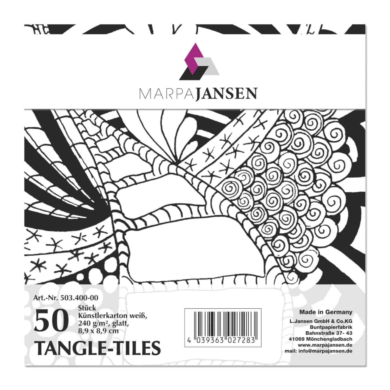 Marpa Jansen tangle-tiles wit vierkant 50 stuks (8,9x8,9 cm)