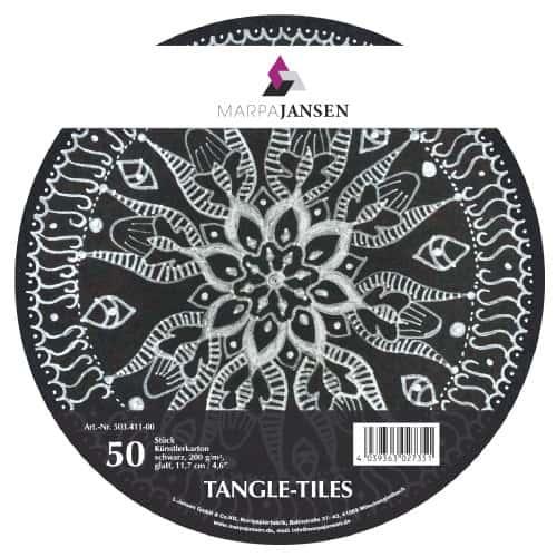 Marpa Jansen tangle-tiles zwart rond 50 stuks (diameter 11,7 cm)